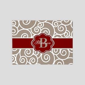 Beige Red Swirls Personalized 5'x7'Area Rug
