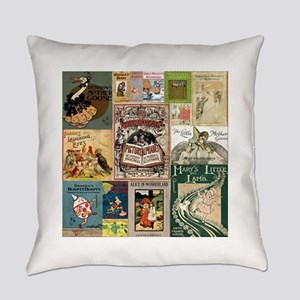 Vintage Book Cover Illustrations Everyday Pillow