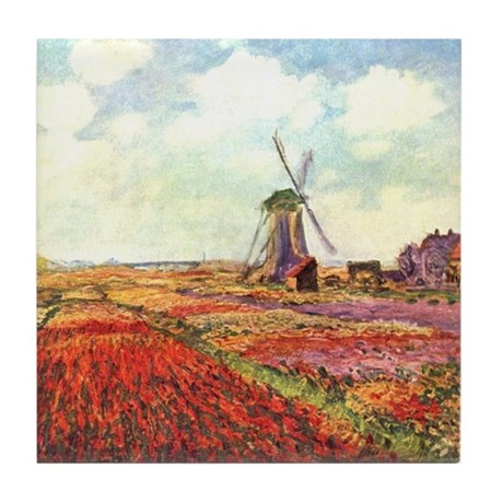 Tulips of Holland by Monet Tile Coaster