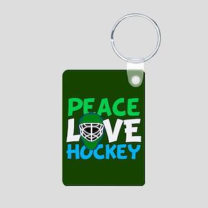 Green Hockey Aluminum Photo Keychain