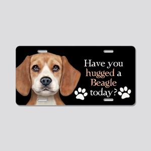 Beagle Hug Aluminum License Plate