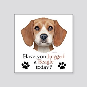 "Beagle Hug Square Sticker 3"" x 3"""