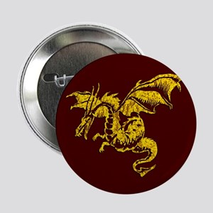 """Gold Dragon on Maroon 2.25"""" Button"""