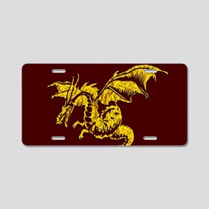 Gold Dragon on Maroon Aluminum License Plate