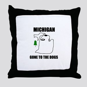 michigan gone to the dogs Throw Pillow