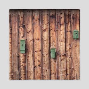 Birdhouses on a Log Wall Queen Duvet
