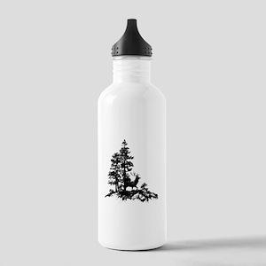 Black White Stag Deer Animal Nature Water Bottle