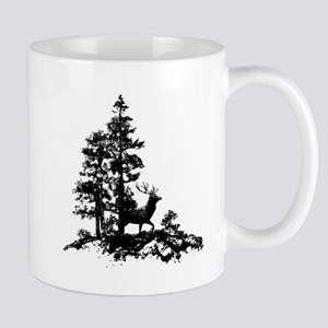 Black White Stag Deer Animal Nature Mugs