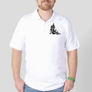 Black White Stag Deer Animal Nature Golf Shirt