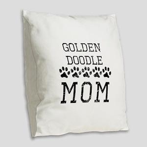 Goldendoodle Mom (Distressed) Burlap Throw Pillow