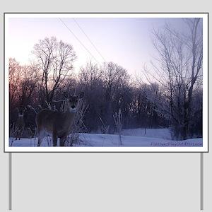 Whitetail Deer Winter Yard Sign