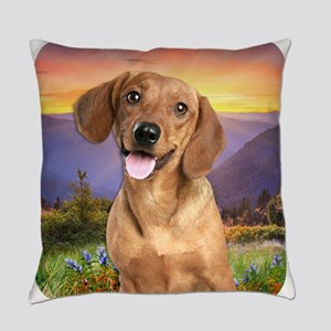 Dachshund Meadow Everyday Pillow