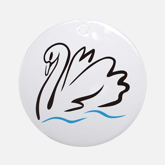 Swan Outline Ornament (Round)