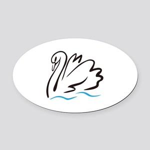 Swan Outline Oval Car Magnet