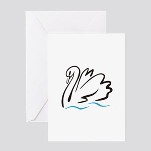 Swan Outline Greeting Cards