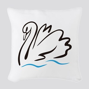 Swan Outline Woven Throw Pillow