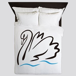 Swan Outline Queen Duvet