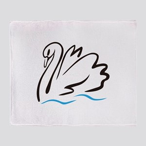Swan Outline Throw Blanket