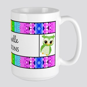 Green Polka Dots Owl Personalized Name Large Mug