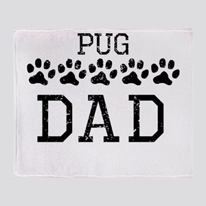 Pug Dad (Distressed) Throw Blanket