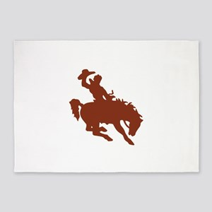 Bronco with Rider 5'x7'Area Rug