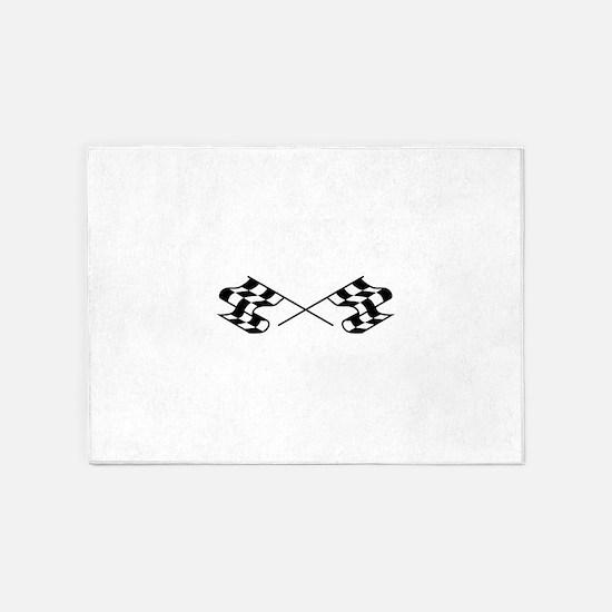 Crossed Racing Flags 5'x7'Area Rug