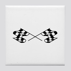 Crossed Racing Flags Tile Coaster
