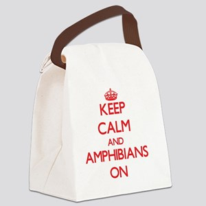 Keep Calm and Amphibians ON Canvas Lunch Bag