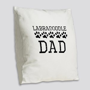 Labradoodle Dad (Distressed) Burlap Throw Pillow
