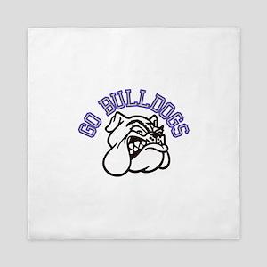 Go Bulldogs (with border) Queen Duvet