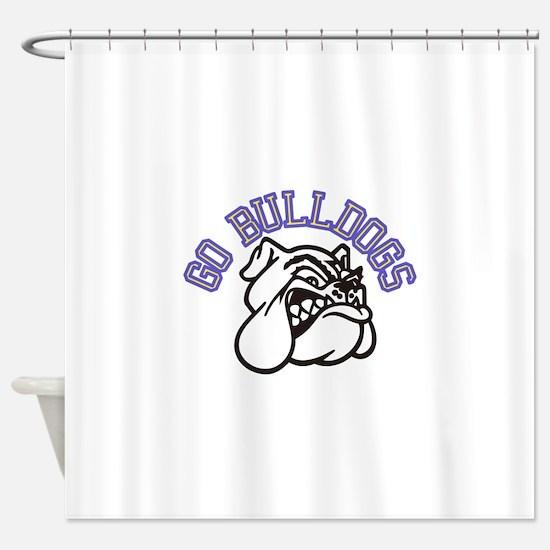 Go Bulldogs (with border) Shower Curtain