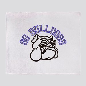 Go Bulldogs (with border) Throw Blanket