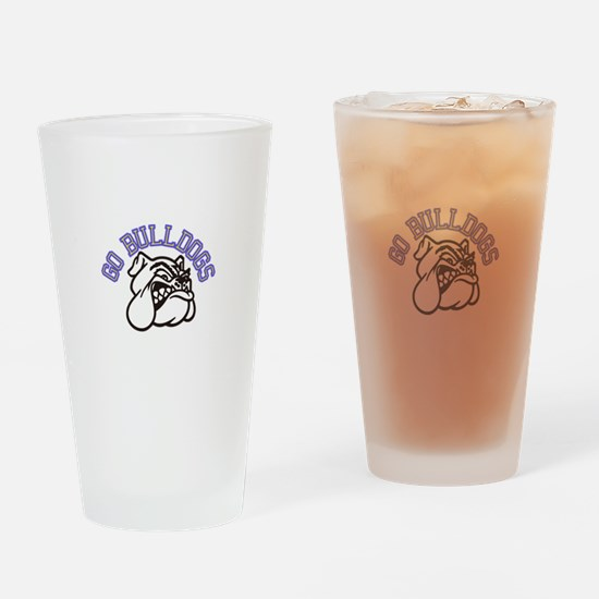Go Bulldogs (with border) Drinking Glass