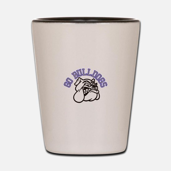 Go Bulldogs (with border) Shot Glass