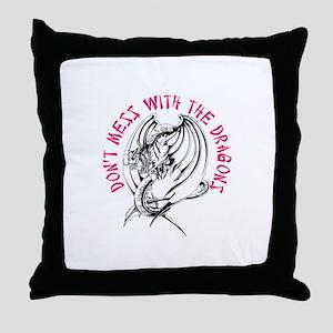 Mess With Dragon Throw Pillow