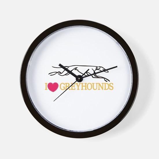 I Love Greyhounds Wall Clock