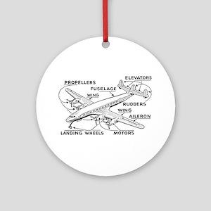 Airplane Ornament (Round)