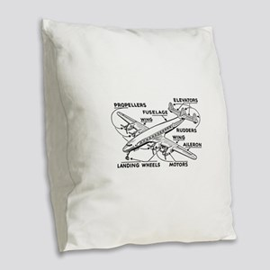 Airplane Burlap Throw Pillow