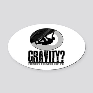 Gravity? Rock Climber Oval Car Magnet