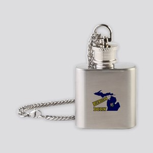 MICHIGAN BORN Flask Necklace