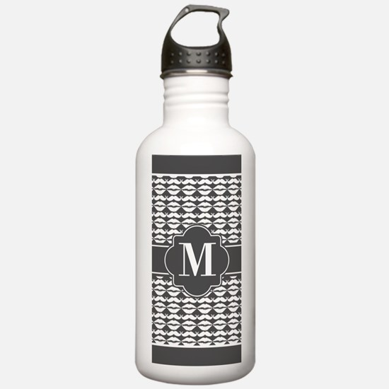 Gray and White Mustach Water Bottle