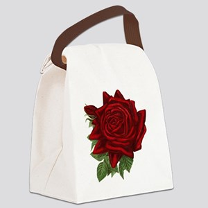 Vintage Red Rose Canvas Lunch Bag
