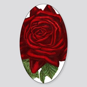 Vintage Red Rose Sticker (Oval)