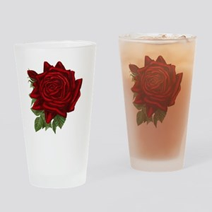 Vintage Red Rose Drinking Glass