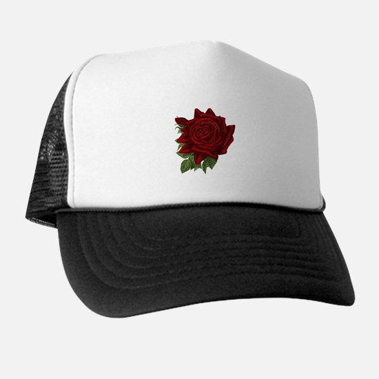 Vintage Red Rose Trucker Hat