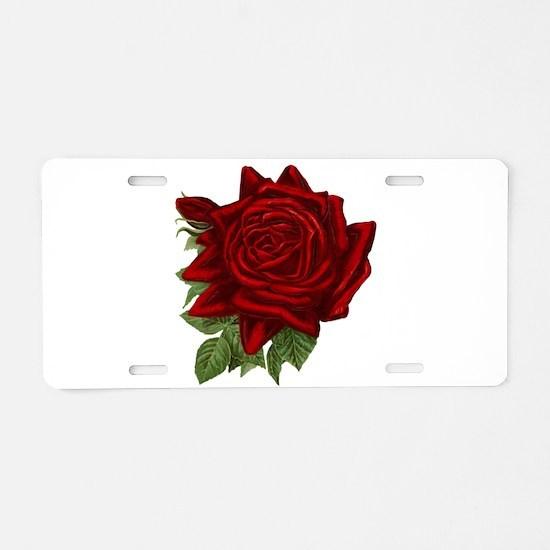 Vintage Red Rose Aluminum License Plate