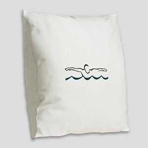 Butterfly Swimmer Burlap Throw Pillow