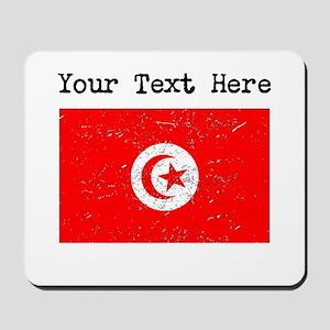 Tunisia Flag (Distressed) Mousepad