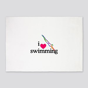 I Love Swimming/Diver 5'x7'Area Rug