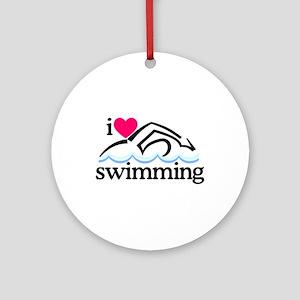 I Love Swimming/Swimmer Ornament (Round)